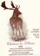 Etiquette Chateau Les OLLIEUX 2000 Corbieres  François-Xavier Surbezy Propriétaire à Montseret 11200  Cerf - Etiquettes