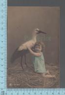 Fantaisies - Enfant Fillette Et Cigogne  - PUB: ORP S. 741-6748. CPA - Enfants