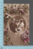 Fantaisies -Couple Dans Un Medaillon, Fleurs, Oiseaux  - PUB: Suzy 283 - CPA - Couples