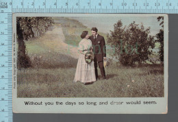 Couple  - Theodor Eismann Leipzig , Illustrated Song # 1817/2, Without You The Day So Long.....CPA - Couples