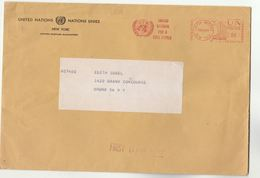 1957 'UNITED NATIONS FOR A FREE WORLD' Cover METER Slogan Stamps UN NY USA - Covers & Documents