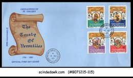 GRENADINES OF ST. VINCENT - 1983 THE TREATY OF VERSAILLES - 4V - FDC - Grenada (1974-...)