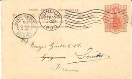 """1899- C P E P One Penny Oblit. Mécan. London + Repiquage """" General Steam Navigation Company - Entiers Postaux"""