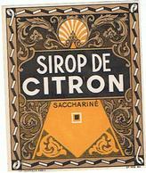 ETIQUETTE  SIROP DE CITRON  SACCHARINE     ****   A   SAISIR     ***** - Labels