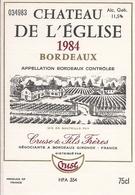 BORDEAUX    1984  CHATEAU DE L'EGLISE (4) - Bordeaux