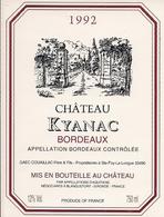 BORDEAUX    1992  CHATEAU KYANAC (4) - Bordeaux