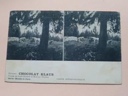 Usines Au LOCLE (Suisse) Et MORTEAU ( Doubs ) ( Edit. CHOCOLAT KLAUS ) Anno 19?? ( Zie Foto's ) Carte Stéréo ! - Cartes Stéréoscopiques