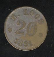 Jeton 20  ( Centimes ? ) Du Casino Loos De Dijon 1891 - Casino