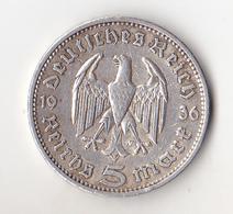 5  REICHSMARK PAUL VON HINDENBURG   1936 - [ 4] 1933-1945 : Third Reich