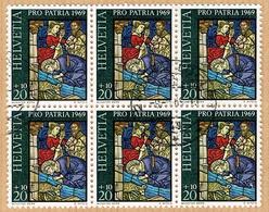 PRO PATRIA . BLOC DE 6 OBLITERE 1969 C/DES TIMBRES SUISSES Nr:B143. Y&TELLIER Nr:835. MICHEL Nr:903. - Pro Patria