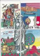 CPA-Puzzle   4 Cartes Illustrateus Alsaciens Centenaire De La Statue De La Liberté - Illustratori & Fotografie