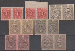 EL SALVADOR - Seven Different 1918 Imperf Revenue Pairs. No Gum - El Salvador