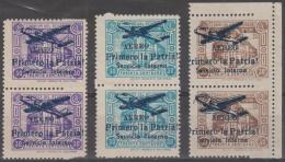 ECUADOR - 1947 Officials Overprinted With Plane In Pairs. All Are Part IMPERF Between. Scott O202-204. Mint No Gum - Ecuador