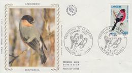 Enveloppe  FDC  1er  Jour  ANDORRE   Oiseau  :  Bouvreuil   1974 - FDC