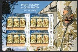 AUSTRALIA, 2018 PERTH STAMP/COIN SHOW O/P MINISHEET MNH - 2010-... Elizabeth II