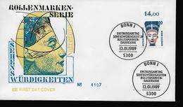 ALLEMAGNE     FDC  1989  Egypte Pharaon Nefertiti - Egyptologie