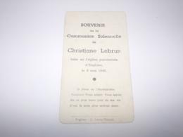 Souvenir Communion De Christiane Lebrun Faite à Enghien En 1948. - Communion