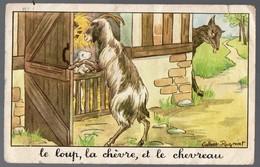 Fables De La Fontaine:Le Loup La Chêvre Et Le Chevreau     (image De Calvet-Rogniat) Format CPA (PPP14429) - Old Paper