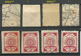 LETTLAND Latvia 1918/19 Michel 1 - 2 Map Types MNH/MH - Latvia