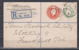 """Großbritannien Privater Einschreibeumschlag """" Rand Mines"""" 4P Neben 1/2p Ab London 1909 Nach Frankfurt - 1902-1951 (Rois)"""