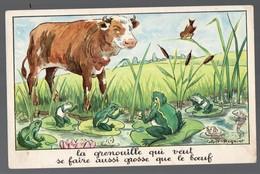 Fables De La Fontaine : La Grenouille Qui Veut Se Faire Aussi Grosse Que (image De Calvet-Rogniat) Format CPA (PPP14433) - Old Paper