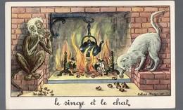Fables De La Fontaine : Le Singe Et Le Chat  (image De Calvet-Rogniat) Format CPA (PPP14438) - Old Paper