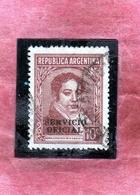 ARGENTINA 1938 1951 OFFICIAL STAMPS SERVICIO OFICIAL BERNARDINO RIVADAVIA CENT. 10 USATO USED OBLITERE' - Servizio