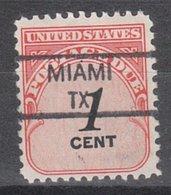 USA Precancel Vorausentwertung Preo, Locals Texas, Miami 835,5 - Vereinigte Staaten