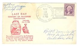 1933 USA Railway Cover Last Day Century Of Progress Expo Postal Car Postmark - Event Covers