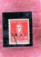 ARGENTINA 1923 M.J.I. OVERPRINTED MJI SOPRASTAMPATO JOSE SAN MARTIN CENT. 5c USATO USED OBLITERE' - Servizio