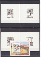 Jeux Olympiques - Tchad - Yvert PA 179/81 + BF 18 - Carton - Feuillets De Luxe - Haies - Saut - Poids - Boxe - Sprint - Estate 1976: Montreal