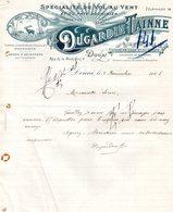 DOUAI FACTURE ILLUSTREE DU 02/12/1908 DUGARDIN TAINNE TRAITEUR SPECIALITES VOL AU VENT ET PATE DOUAISIEN GIBIERS - France