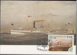 756d S. Tomé E Principe 1984 Navi A Vapore Maximum Card City Of WORCESTER (1881) Steamers Maxi - Sao Tomé E Principe