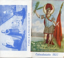 """08245 """"PANCRAZIO MARTIRE - CALENDARIETTO 1957""""  ALL'INTERNO ORARI AUTO CORRIERE DA TORINO - Calendari"""
