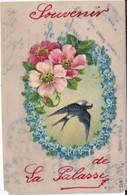 Carte En Celuloide. Souvenir De La Palasse (Hirondelle, Fleurs) - Fancy Cards