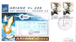 Lancement Ariane 5 VA 235 Sky Brasil 1 Telkom 3S ESA Paris 14/02/17 - FDC & Commémoratifs