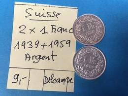 SUISSE. 2 X 1 FRANC 1939 + 1959 - ARGENT- SUPERBE - Suisse