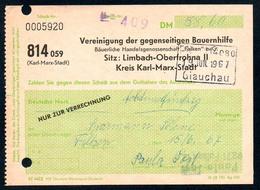 B5686 - Limbach Oberfrohna Kr. Karl Marx Stadt - Rechnung Quittung - Bauernhilfe Falken - Glauchau - Germany