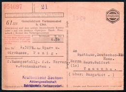 B5688 - Kraftverkehr Hartmannsdorf - Giro Kasse Stadtbank Penig - Rechnung Quittung - DSG - Stempel - Deutschland