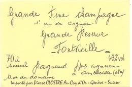 Etiket Etiquette - Vin - Wijn - Grande Fine Champagne - Cognac - Fontvieille - Marcel Ragnaud - Ambleville - Labels