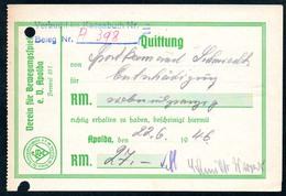 B5689 - Apolda - Verein F. Bewegungsspiel - Rechnung Quittung - Deutschland