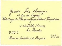 Etiket Etiquette - Vin - Wijn - Grande Fine Champagne - Cognac - Le Paradis - Mme Briand - Ambleville - Etiquettes