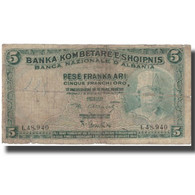 Billet, Albania, 5 Franka Ari, UNDATED (1924), KM:2b, B+ - Albanie