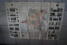Grande Carte Originale Congo Belge 1929 ,121 Cm. Sur 85 Cm. Pour Collection,Afrique - Cartes Géographiques