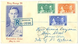 1937 Ascension KGV Illustrated Cover Used 2 DE 37. Registered To St.Helena With DE 6 37 Arrival - Ascension