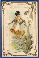 CPA Femme En Pied Girl Women Glamour Beauté Circulé Art Nouveau Gaufré Embossed - Illustrators & Photographers