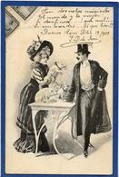 CPA Femme En Pied Girl Women Glamour Beauté Circulé Art Nouveau Cochon Pig - Illustrators & Photographers