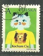 POLAND Oblitéré 3475 Kocham Cie Je T'aime Saint Valentin Chat - 1944-.... Republik