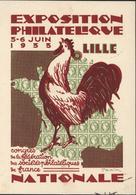Entier Exposition Philatélique Juin 1933 Lille 20 C Semeuse Camée Rose CP Commémorative Cérès Coq Dessin Draim Vignette - Postal Stamped Stationery