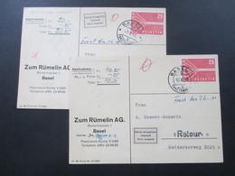 Schweiz 1958 2x Nr. 646 EF Auf Nachnahmekarten Retour / Nicht Eingelöst / Impaye / Non Pagato - Suisse